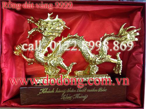 Tượng rồng mạ vàng phong thủy 33cm0