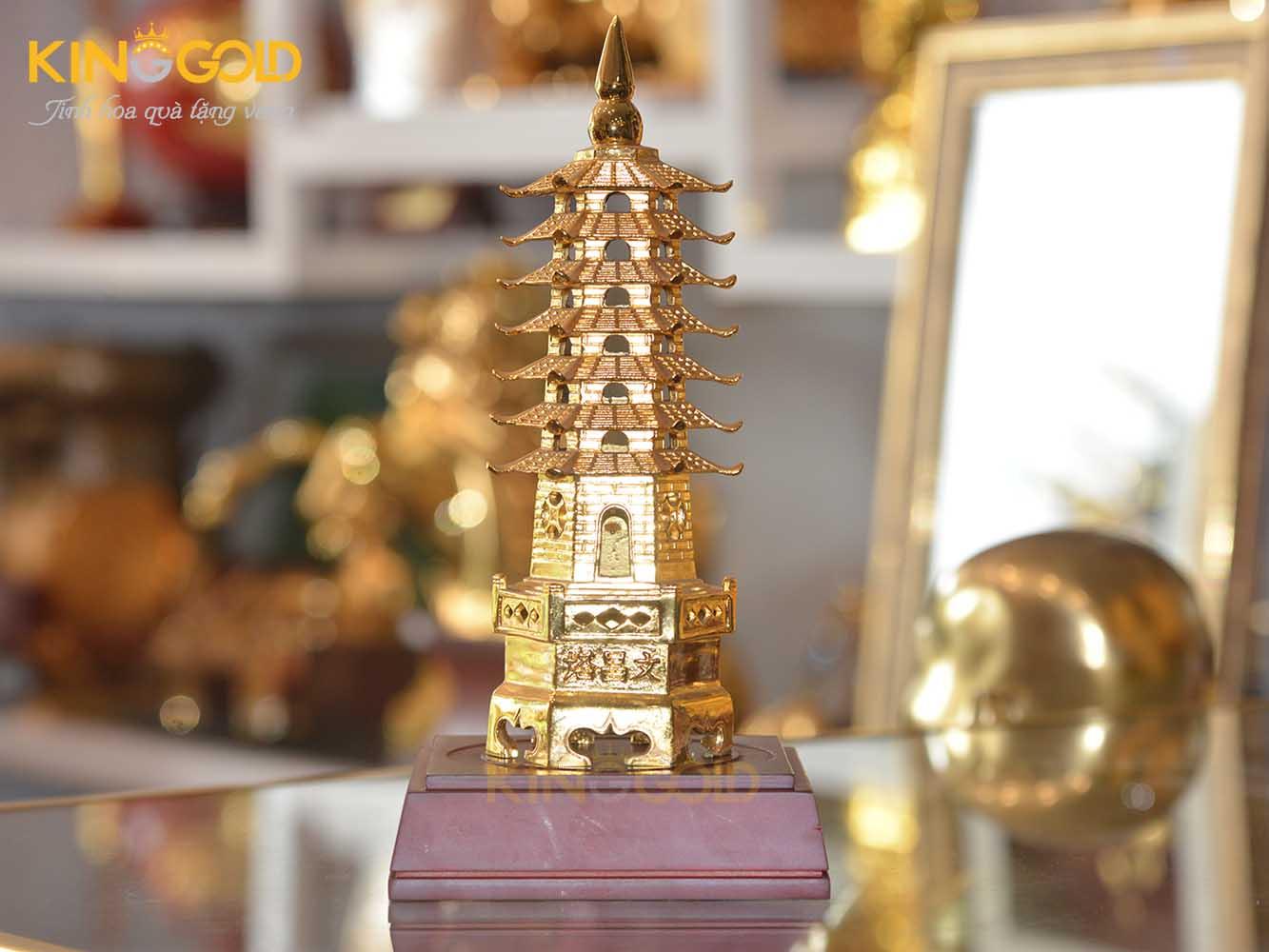 Vật phẩm phong thủy trên bàn học- tháp Văn Xương mạ vàng0