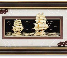Tranh thuyền vàng 24k kt 60x120cm làm quà khai trương