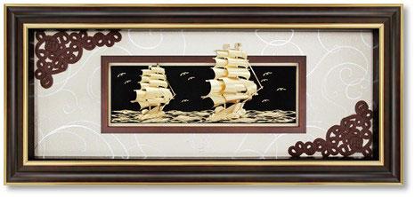 Tranh thuyền vàng 24k kt 60x120cm làm quà khai trương0