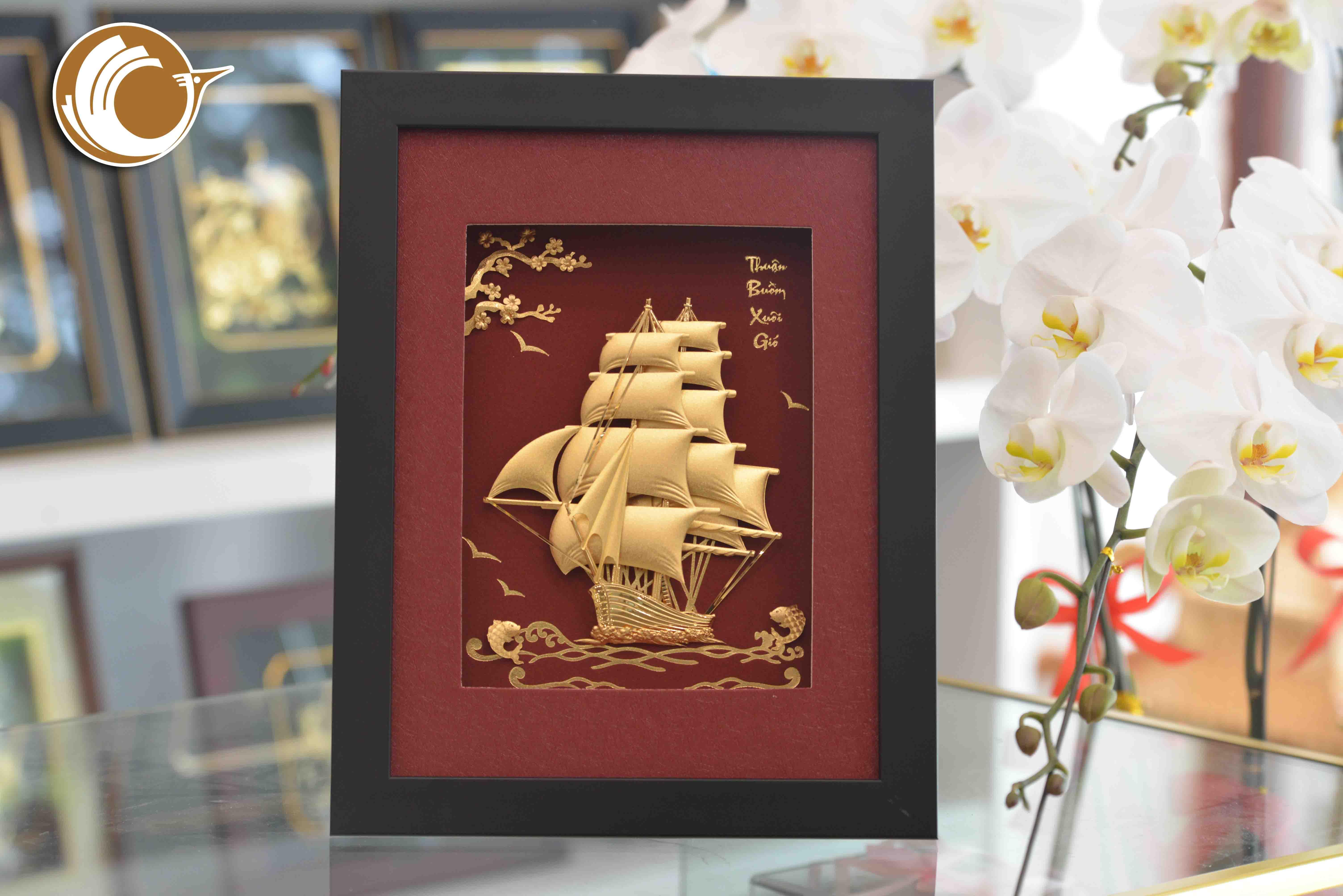 Quà tặng tranh thuyền buồm vàng lá 24k- quà tặng doanh nghiệp ý nghĩa0