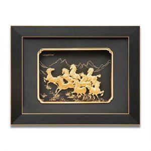 Tranh bát mã dát vàng 24k 27×34 cm làm quà tặng