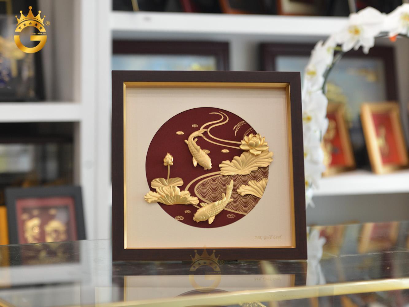 Tranh cá chép hoa sen dát vàng 24k- quà tặng vợ, tặng bạn gái0