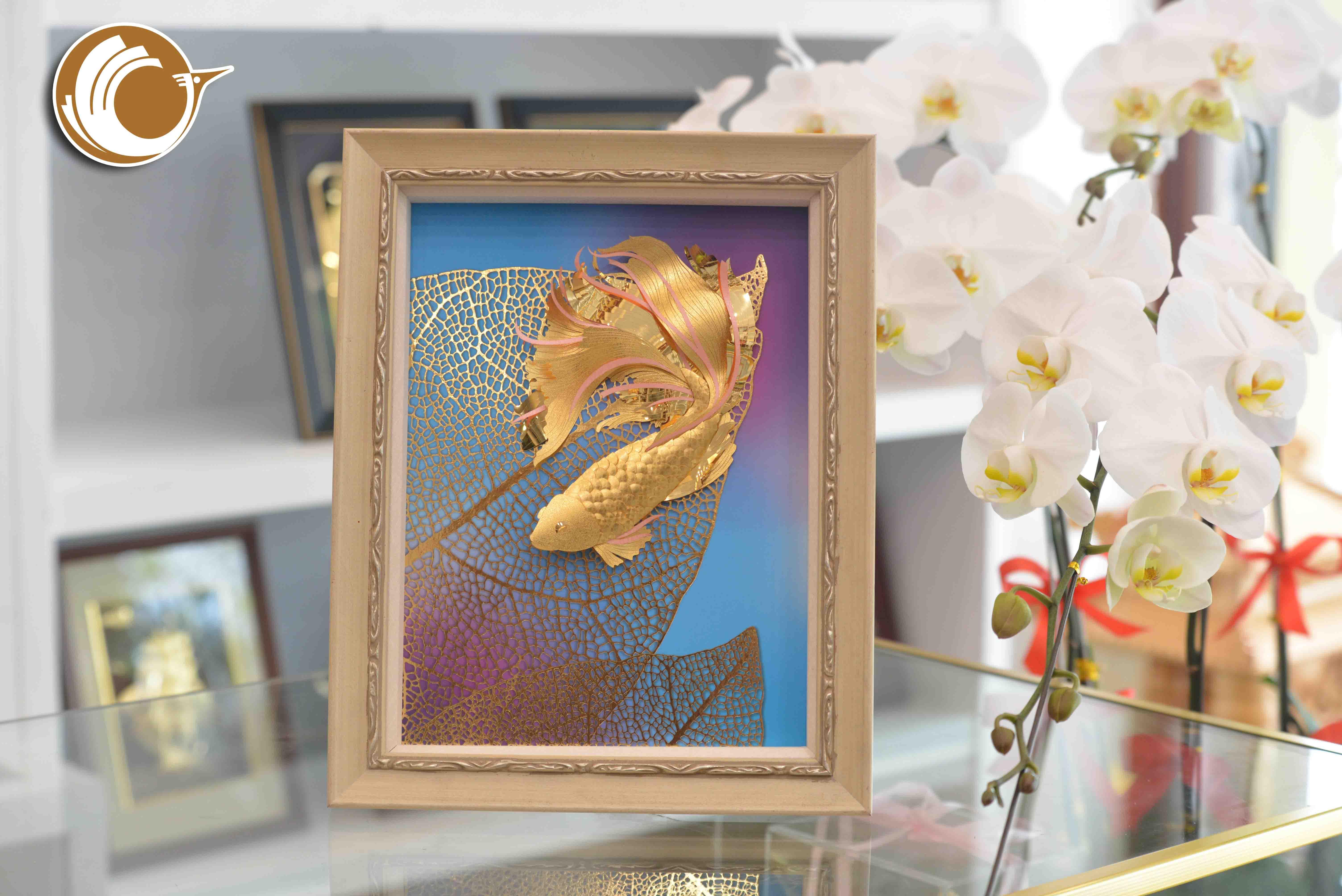 Tranh vàng 24k tranh cá vàng, quà tặng phong thủy ý nghĩa0