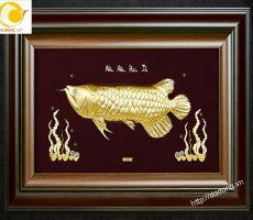 Quà Tết ý nghĩa- tranh cá kim long vàng lá dát 3D