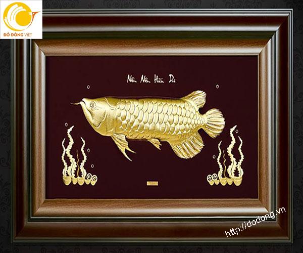Quà Tết ý nghĩa- tranh cá kim long vàng lá dát 3D0