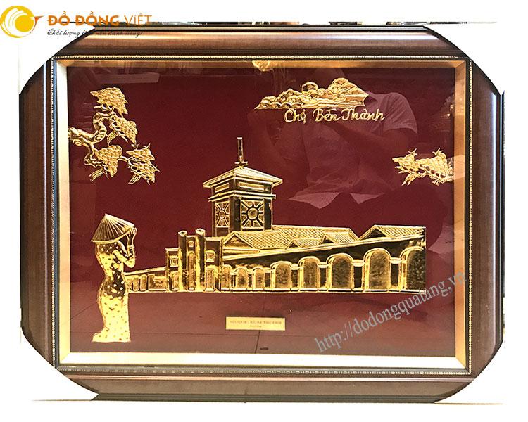 ranh chợ bến thành bằng đồng mạ vàng 24k cao cấp khung 50x70cm
