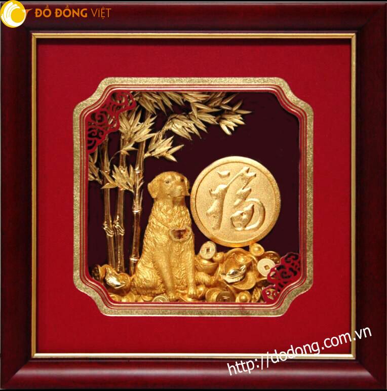 Tranh lưu niệm dát vàng 24k năm Tuất 2018,quà tặng tranh đẹp mang lại may mắn Mậu tuất