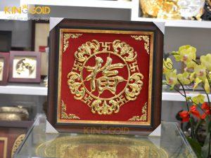 Giá bán tranh chữ Phúc bằng đồng mạ vàng 24k