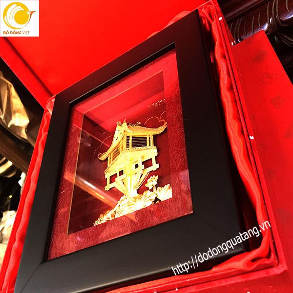 Tranh dát vàng quà tặng chùa một cột tinh xảo 20cm