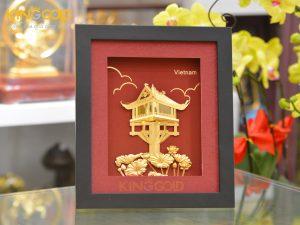 Tranh chùa một cột dát vàng 24k làm quà tặng đối tác nước ngoài