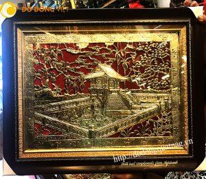 Tranh chùa một cột, quà tặng tranh Hà Nội mạ vàng