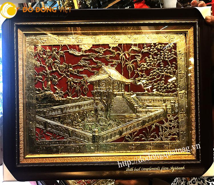 Tranh chùa một cột, quà tặng tranh Hà Nội mạ vàng0