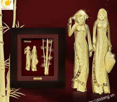 Tranh cô gái áo dài bằng vàng lá 3D- quà lưu niệm cao cấp