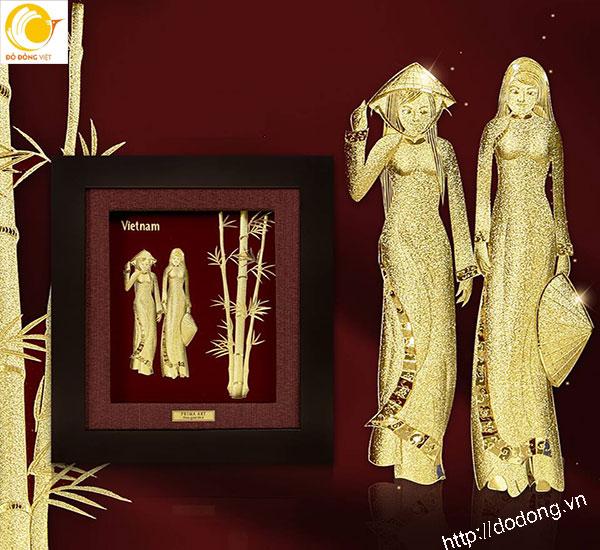 Tranh cô gái áo dài bằng vàng lá 3D- quà lưu niệm cao cấp0