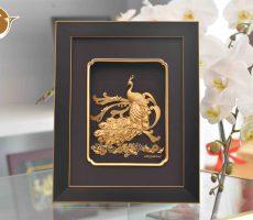 Tranh Chim Công Dát Vàng- quà tặng 20-10 đẹp tinh xảo