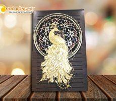 Tranh vàng 24k, tranh chim công xòe cánh đẹp tinh xảo