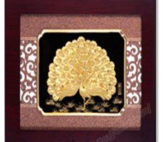 Tranh công bằng vàng lá cao cấp dát vàng cao cấp,tranh trang trí nội thất