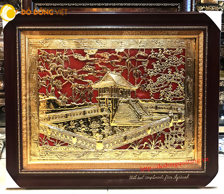 Tranh chùa một cột hà nội dát vàng 24k khung 50x70cm làm quà mang đi nước ngoài ý nghĩa