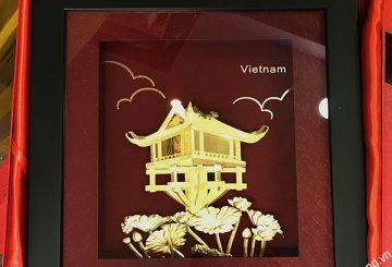 Bức tranh chùa một cột Hà nội dát vàng 3d tuyệt mỹ
