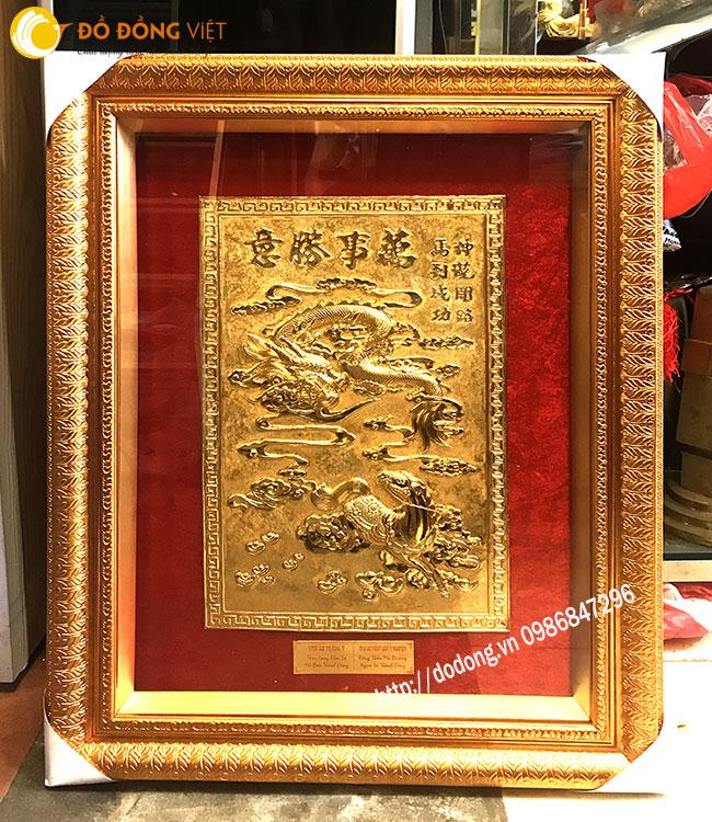 Thần long khai lộ - mã đáo thành công vạn sự thắng ý chế tac đồng mạ vàng 24k