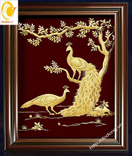 Quà mừng cưới, tranh uyên ương phong thủy bằng vàng lá0