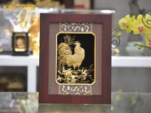 Quà tặng tranh vàng 24k- tranh gà trống vàng lá 24k