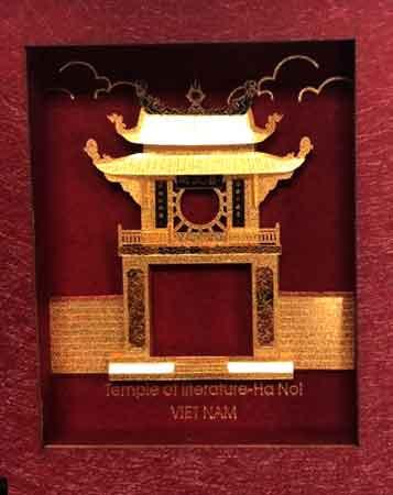 Tranh khuê văn các dát vàng lá 3d làm quà đối ngoại