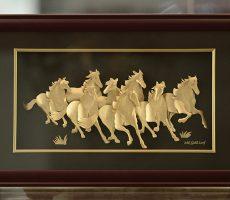 mã đáo thành công trang trí dát vàng 3d cao cấp phong thủy