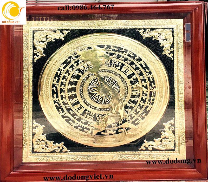 Khung tranh trống đồng liền khắc bản đồ Viêt nam0