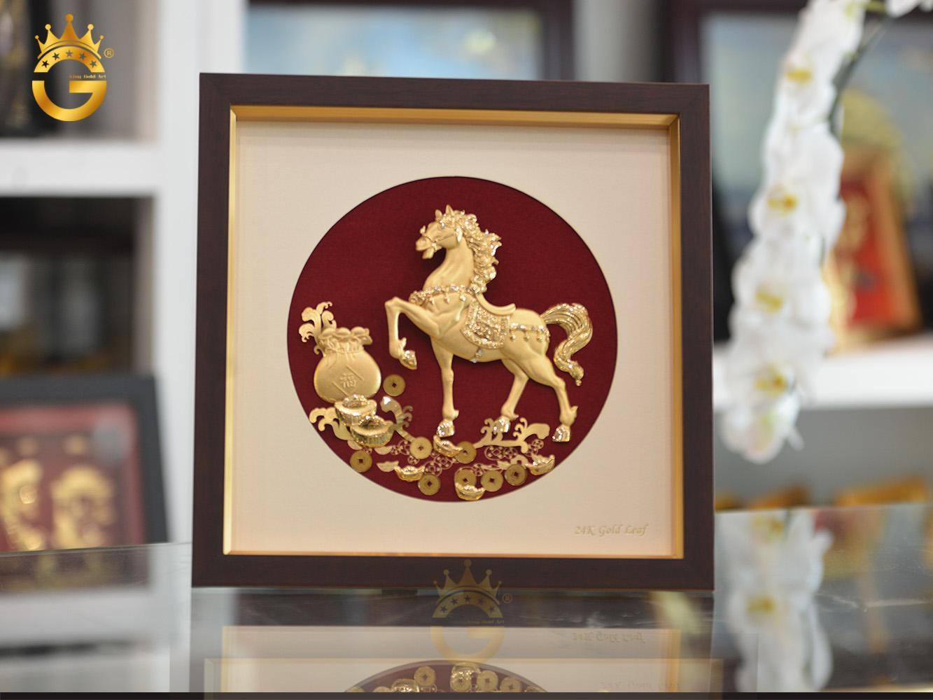 Quà tặng tranh vàng 24k, tranh ngựa tài lộc mạ vàng0