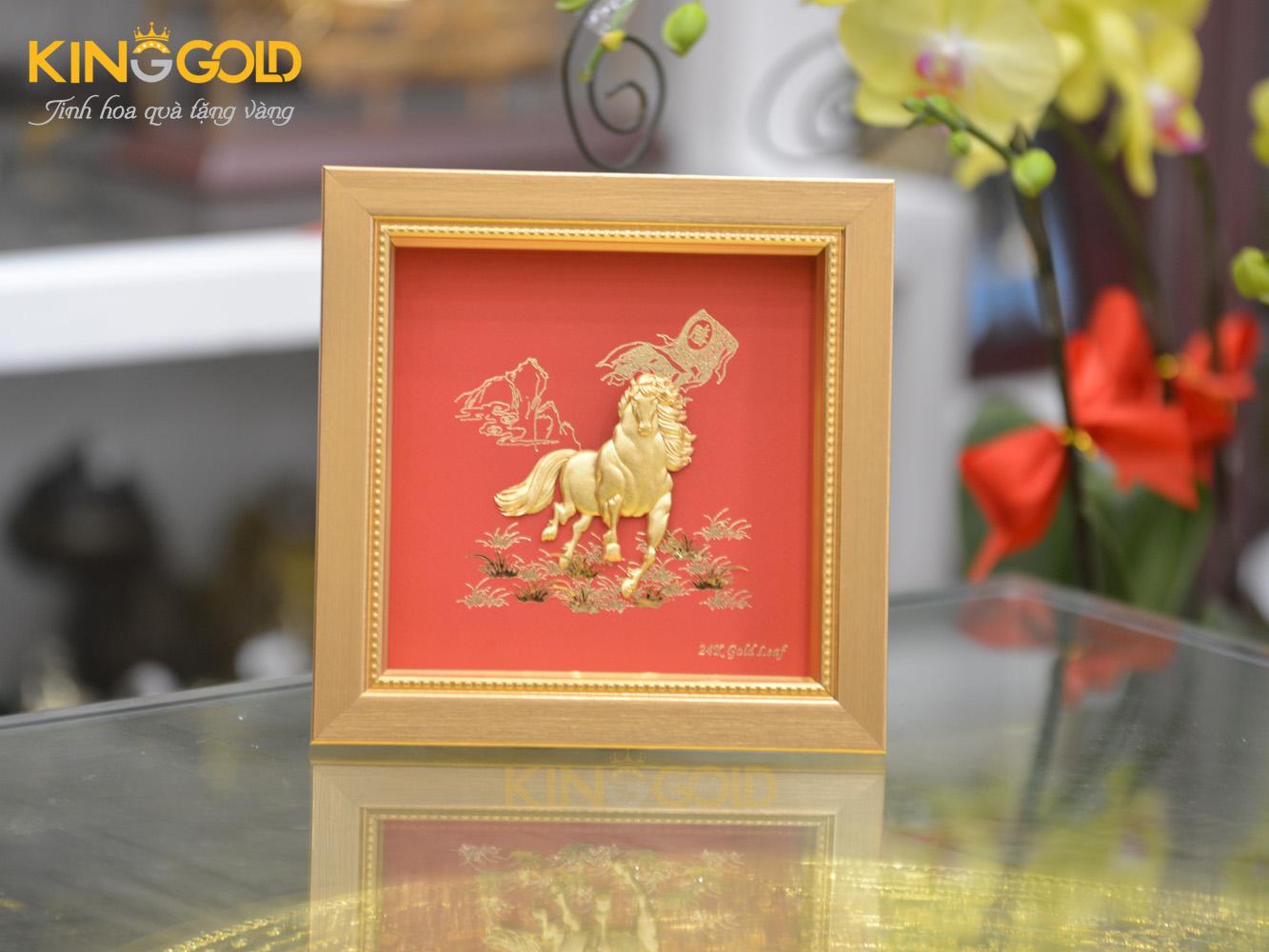 Tranh ngựa vàng 24k mã đáo thành công- quà tặng khai trương hồng phát0