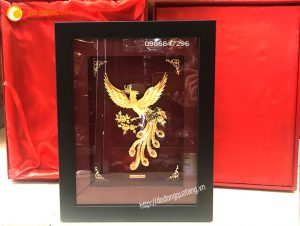 Tranh phượng hoàng vàng lá 24k làm quà tặng