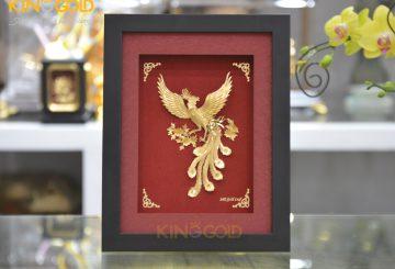 Tranh vàng chim phượng hoàng vàng lá 24k đẹp tinh xảo
