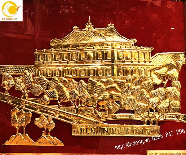tranh đồng bền nhà rồng,tranh quà tặng mạ vàng 24k