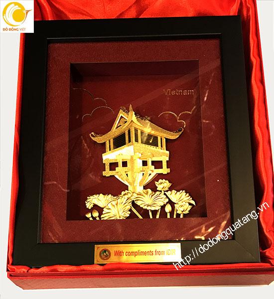Tranh chùa một cột hà nội dát vàng cao cấp,tinh tế làm quà lưu niệm,quà mang đi nước ngoài ý nghĩa