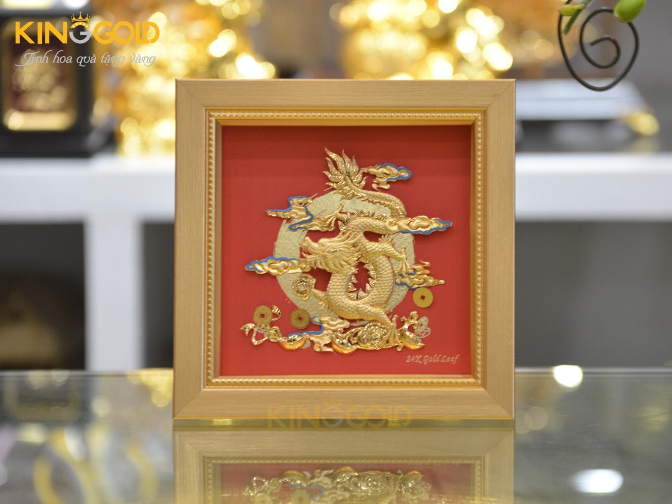 Tranh rồng mạ vàng đẹp tinh xảo- tranh vàng 24k cao cấp0