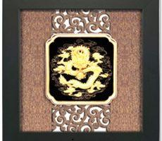 Tranh rồng phong thủy,quà tặng tranh hình rồng dát vàng