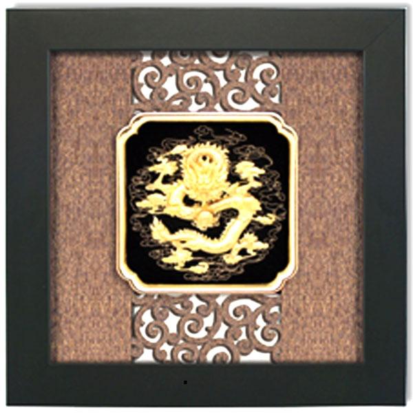 Tranh rồng phong thủy,quà tặng tranh hình rồng dát vàng0
