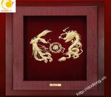 Tranh rồng phượng dát vàng lá 3d tinh tế 25x25cm