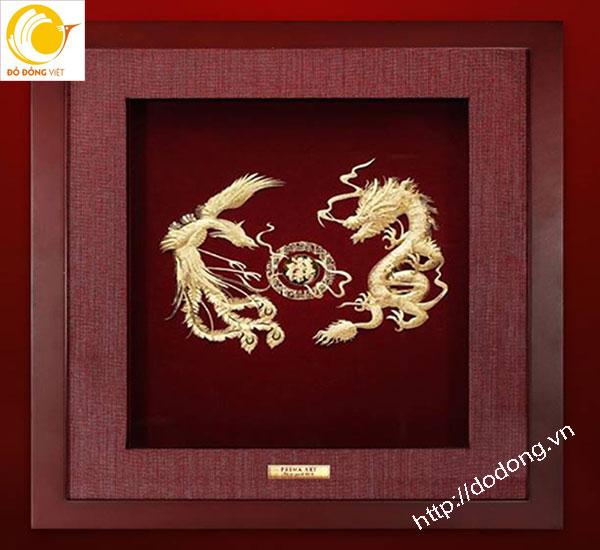 Tranh rồng phượng dát vàng lá 3d tinh tế 25x25cm0