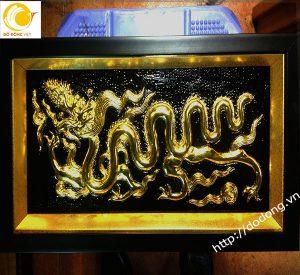 Tranh rồng thời lý bằng đồng mạ vàng 40x60cm