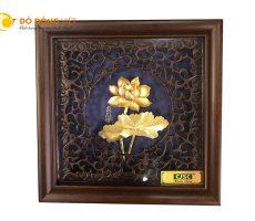 Bán tranh hoa sen dát vàng lá 3d  khung gỗ 20cm