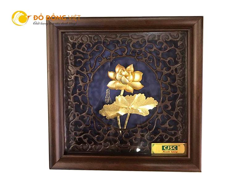 Bán tranh hoa sen dát vàng lá 3d  khung gỗ 20cm0
