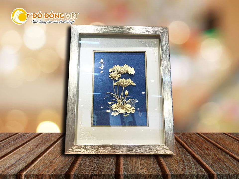 Quà tặng bạn gái, quà tặng hoa sen tranh vàng 24k0