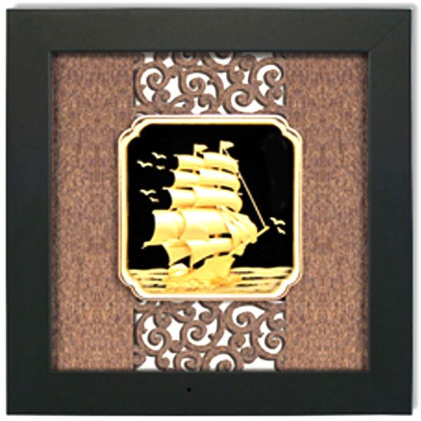 Qùa tặng tranh thuyền buồm xuôi gió 27x34cm dát vàng0