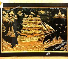 Tranh đồng mạ vàng thuận buồm xuôi gió treo phòng làm việc