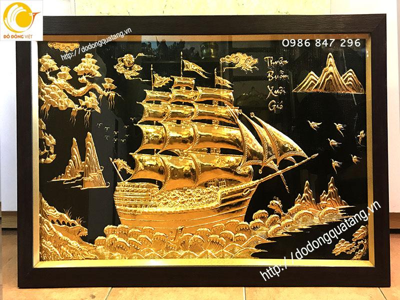 Tranh đồng mạ vàng thuận buồm xuôi gió được khách hàng treo phòng làm việc,phòng khách,quà tặng đẹp