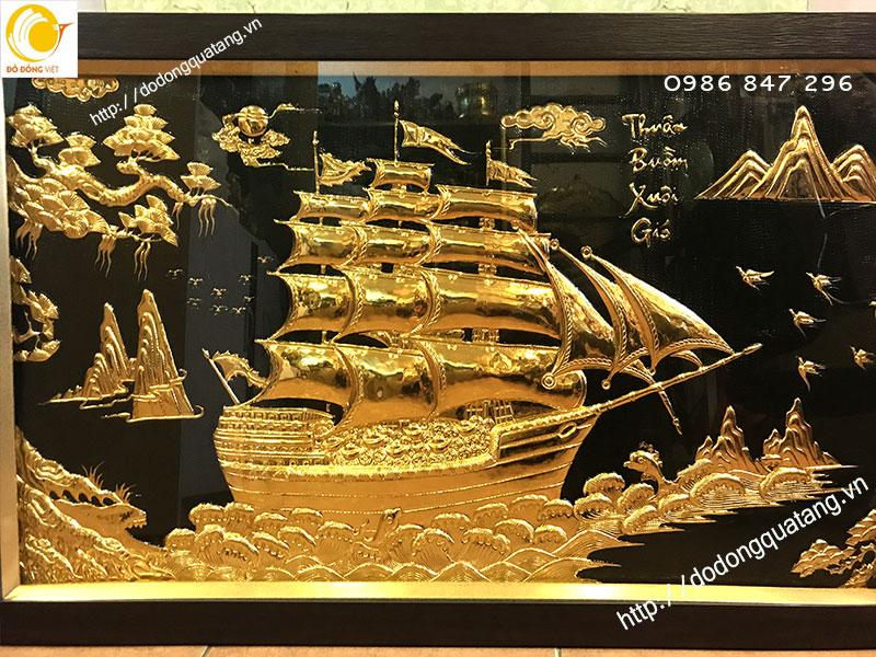 Tranh đồng mạ vàng hình thuyền buồm ý nghĩa làm quà tặng đối tác