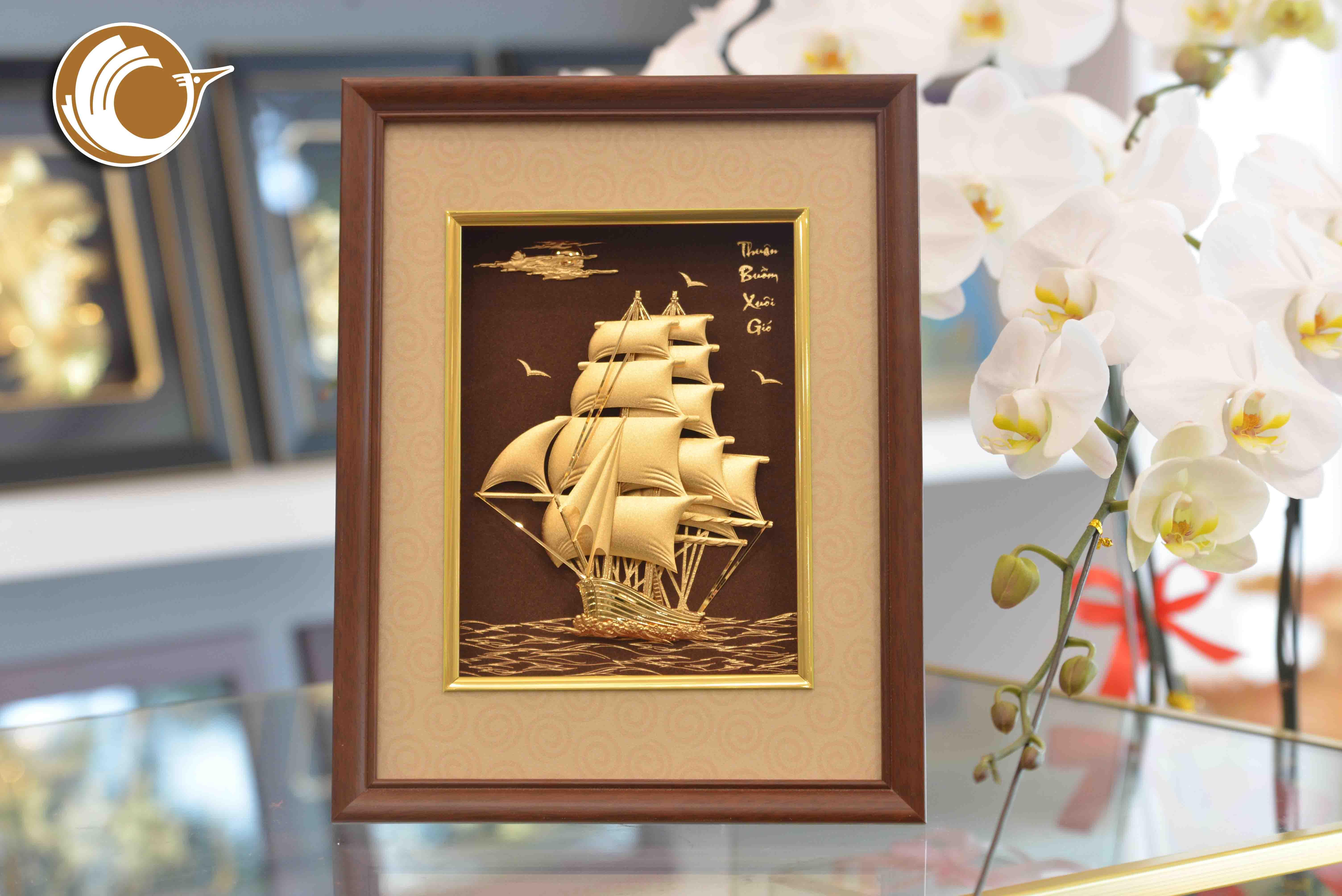 Quà tặng tranh vàng thuyền buồm xuôi gió- quà tặng sự kiện doanh nghiệp0